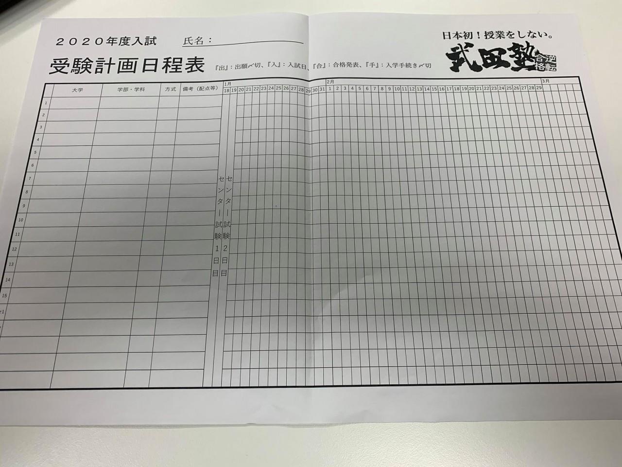 受験計画日程表