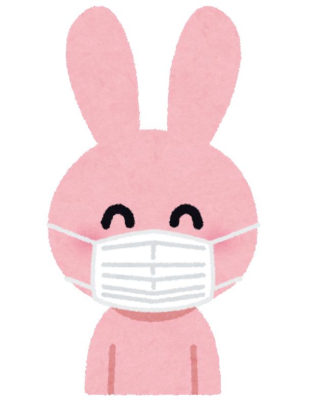 マスクをしたウサギ