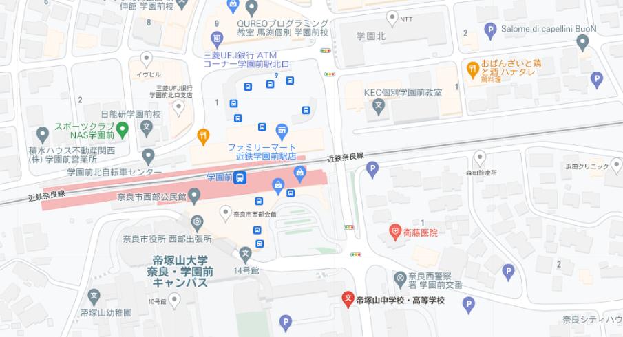 帝塚山高校地図