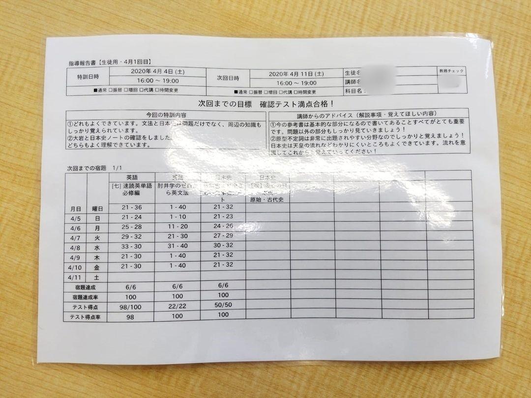 武田塾藤枝校指導報告書